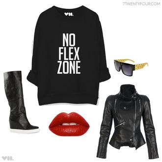 sweater jacket alexander mcqueen lipstick sneakers casadei sunglasses hiphop