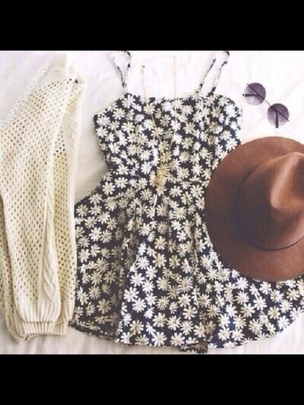 daisy cardigan daisy dress hippie