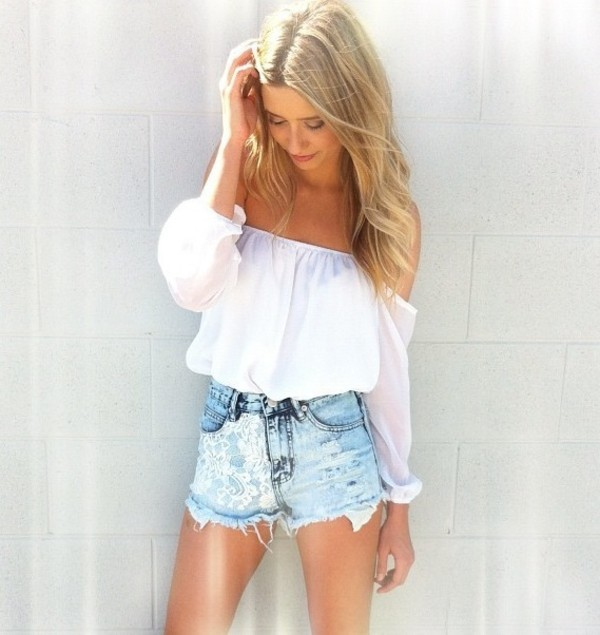 shorts lace denim blue blouse top off the shoulder white top denim shorts cute top girly cute outfits