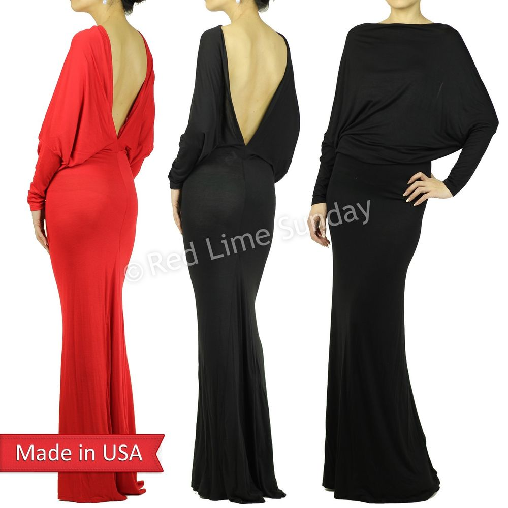 New Women Sexy Open Deep V Back Red Black Navy Dolman Long Sleeve Maxi Dress USA