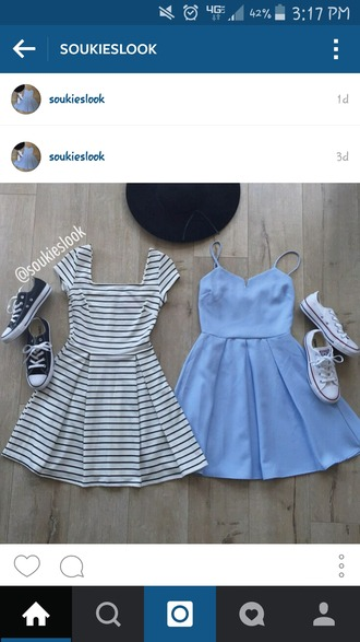 dress sky blue dress black and white dress black hat