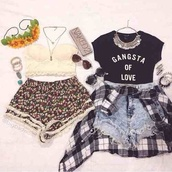 top,blouse,t-shirt,crop tops,black,hipster,quote on it,t shirt with aquote,glasses,checkered,checkered blouse,necklace,collar,denim shorts,denim,floral,romper,high waiste shorts
