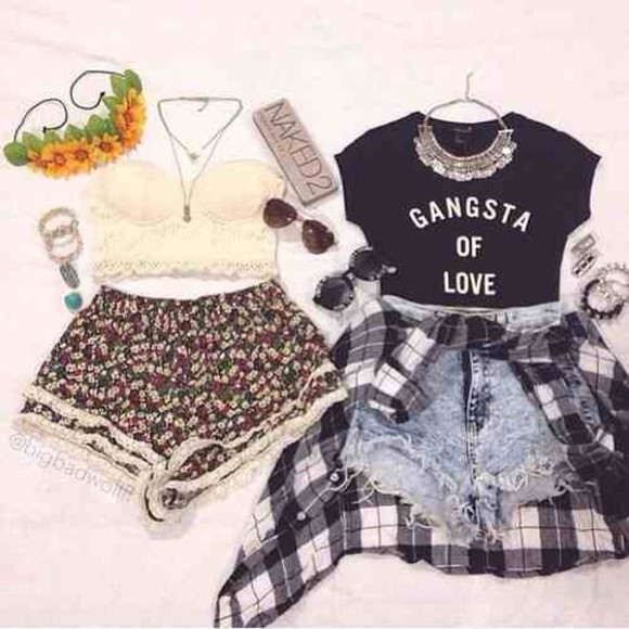 floral top blouse t-shirt crop top black hipster quote on it t shirt with aquote glasses crop tops checkered checkered blouse necklace collar denim shorts denim