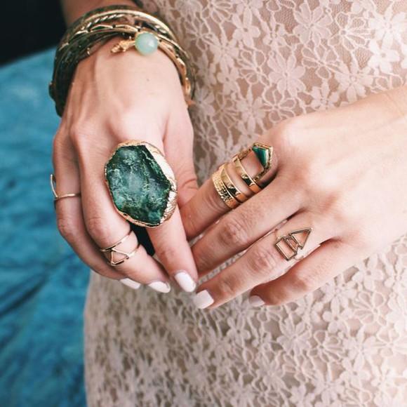 jewels gemstone green gold boho