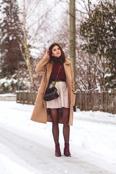 the fashion fraction blogger skirt camel coat winter outfits burgundy sweater belt
