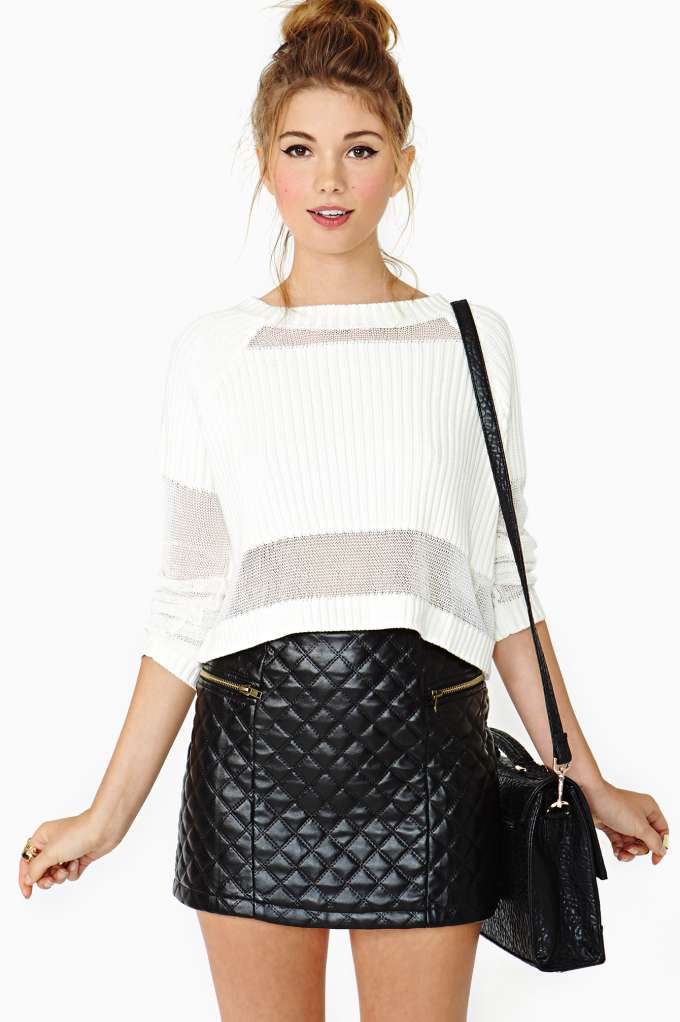 Quilted Zip Skirt in  Clothes Bottoms Skirts at Nasty Gal