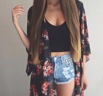 shirt black floral crop tops cardigan shorts