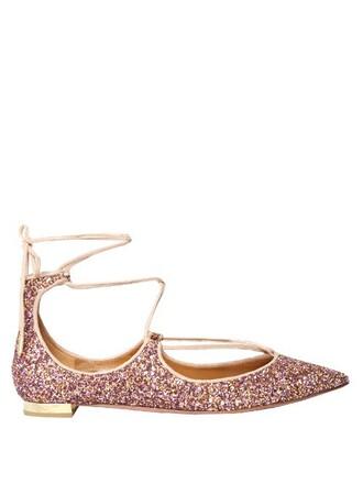 glitter flats pink shoes
