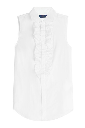 blouse sleeveless cotton white top