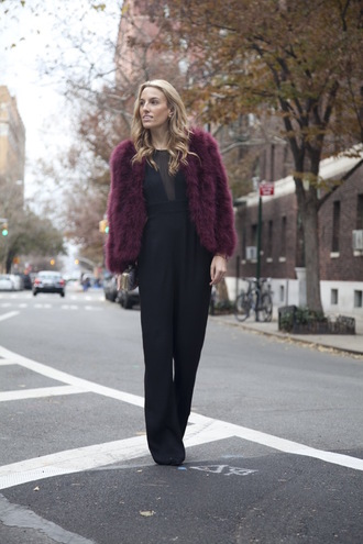 mind body swag blogger jumpsuit bag classy fluffy fur coat burgundy