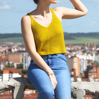 top cami top yellow top crop tops jeans blue jeans knitted crop top