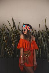 dress,tumblr,mini dress,orange,orange dress,off the shoulder,off the shoulder dress,headband,sunglasses,bag,brown bag,hair accessory