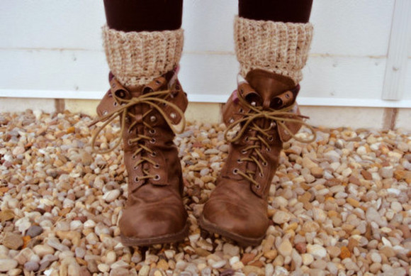 brown shoes shoes boots socks lace up brown ankle boots rustic hippie hipster combat boots tumblr leather tan lace up booties cute beautiful girly boho socks brown boots brown combat boots fall outfits leg warmers