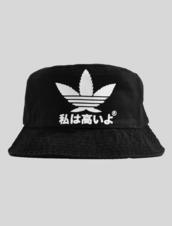 hat,bucket hat,black,adidas,adidias,japanese,weed,adidas knockoff,knockoff,bucket hat chinese
