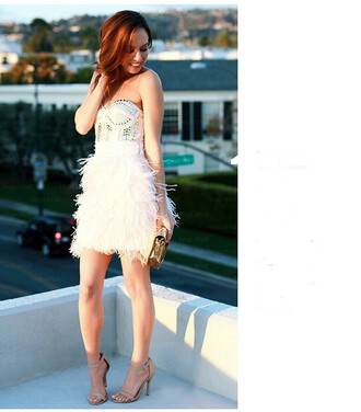 dress white dress ostrich feathers sexy dress mini sexy chic cute studded beaded wots-hot-right-now feathers mini dress clubwear celebrity style celebrity cocktail dress date dress celebrities in white celebstyle for less classy and fabulous club dress summer holidays summer dress off the shoulder