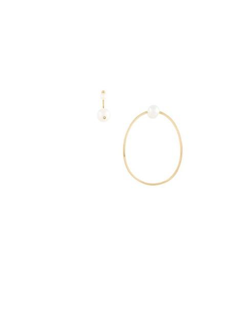 Delfina Delettrez women pearl earrings gold yellow grey metallic jewels