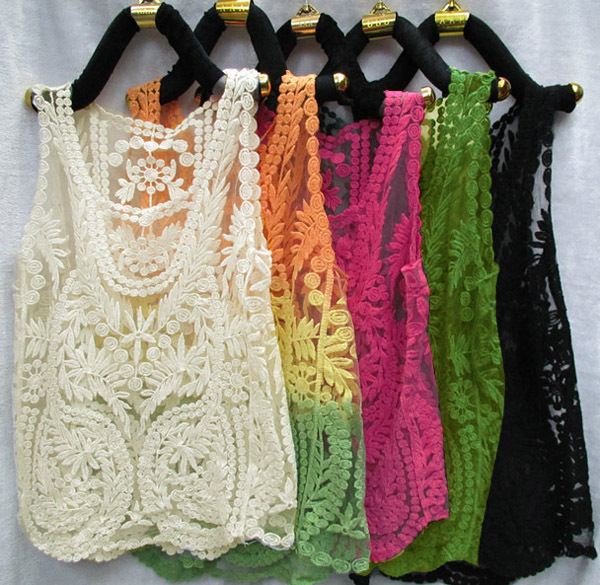 Aliexpress.com : Buy Candy Color Retro Lace Floral Sleeveless Crochet Knit Vintage Retro Lace Embroidery Floral Crochet Sleeveless Vest T shirt from Reliable blouse collar suppliers on Shenzhen Gache Trading Limited