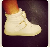 shoes,white,belt,studs