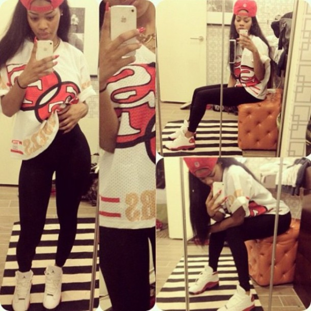 7265f1246cf shirt leggings air jordan teyana taylor t-shirt urban white red black  teyana taylore hat