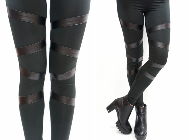 Leather Front Bondage Leggings - Leggings | RebelsMarket