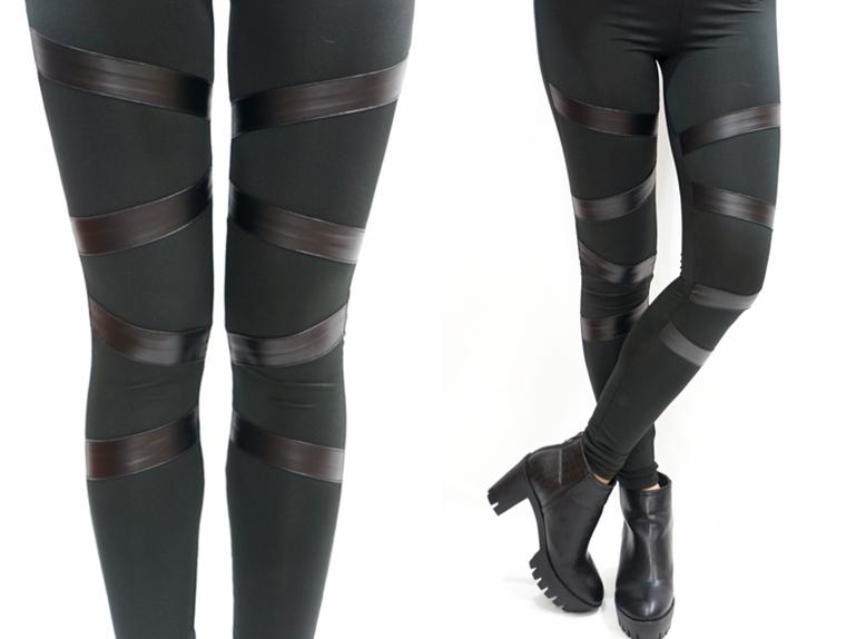 Leather Front Bondage Leggings - Leggings   RebelsMarket
