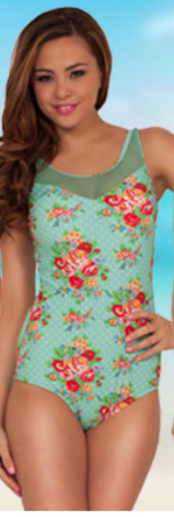 sheer swimwear one piece swimsuit floral aqua