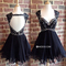 Niceoo dresses | custom black v neck short mini tulle cocktail dresses with sequins beaded