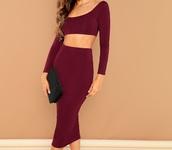 dress,girly,girl,girly wishlist,burgundy,two-piece,two piece dress set,skirt,crop tops,cropped,crop,matching set