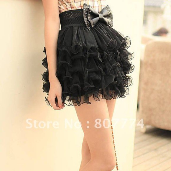 skirt tutu black tutu skirt belt bow plaid shirt mini skirt plaid clothes ruffles girly