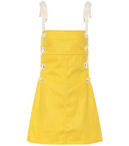 Staud Raft linen-blend dress in yellow