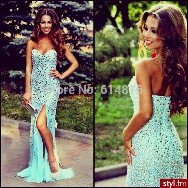 Aliexpress.com : Buy Dazzling Sweetheart Full Crystals Beaded Long Sheath Side High Thigh Slit Aqua Prom Dresses For Pageant Girls from Reliable dresses only suppliers on Suzhou Babyonlinedress Co.,Ltd