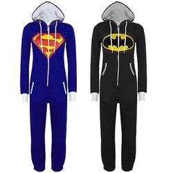 Heißer verkauf neue unisex herren und damen Strampelanzug Superman& batman kapuzenjacke vorne overall 531776