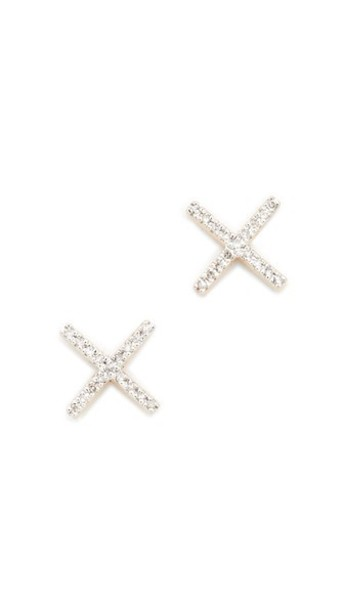 Adina Reyter Pave X Post Earrings in gold