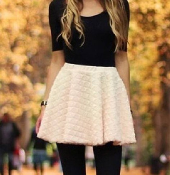 cream skirt t-shirt top dark