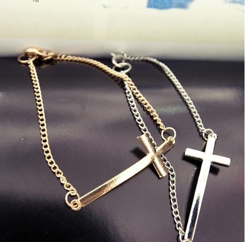 ♥ Funk Cross bracelet silver and gold tone UK seller hot ♥ | eBay