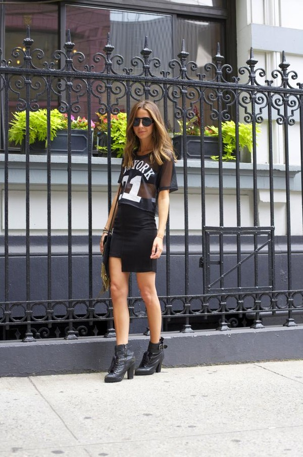 something navy t-shirt skirt shoes bag sunglasses jewels