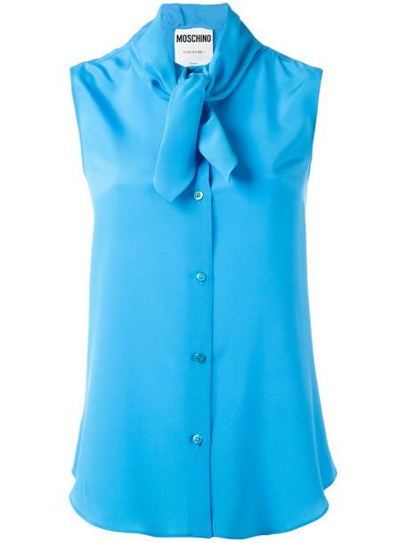 blouse women blue silk top