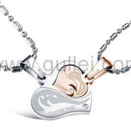 Personalized 2 Heart Interlocking Couples Necklaces Set