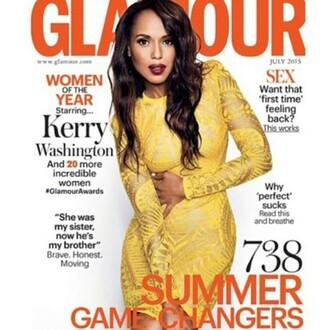 dress cover editorial kerry washington yellow dress yellow lace