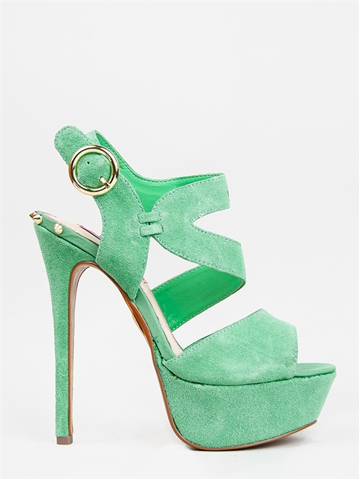 New Betsey Johnson Endall Women Strappy Cutout Peeptoe Heel Sandal Sz Mint Green | eBay