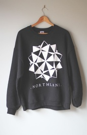 sweater,northlane,band,sweatshirt,geometric,grey,black,white,triangle,3d