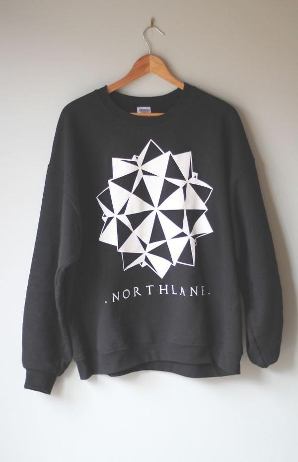 sweater northlane band sweatshirt geometric grey black white triangle 3d