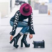 shoes,blouse,hat,tumblr,boots,black boots,high heels boots,platform boots,bag,black bag,denim,jeans,cuffed jeans,ripped jeans,black blouse