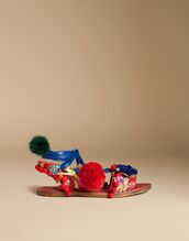 shoes,pompom shoes,statement sandals,dolce and gabbana,sandals,flat sandals