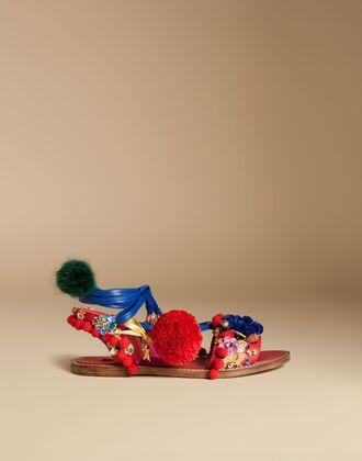 shoes pompom shoes statement sandals dolce and gabbana sandals flat sandals