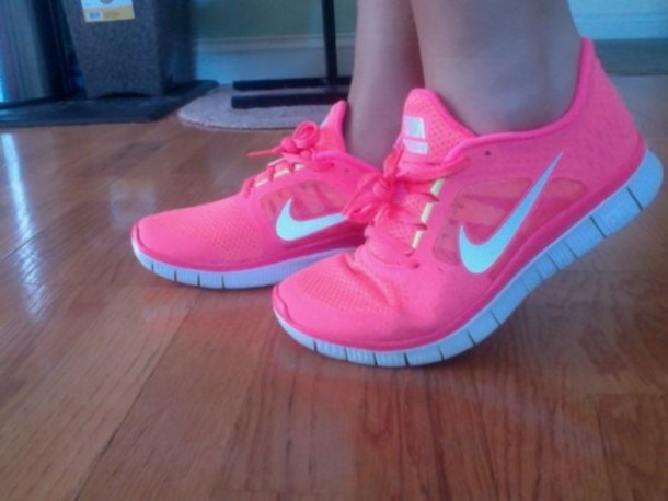Shoes Nike Pink Sports Shoes Fitness Workout Gym Nike Free Run - Wheretoget