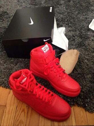 shoes nike sneakers nike nike air force 1 all red nike airforces nike shoes nike air force nike air red nike shoe red nike shoes red checkmark
