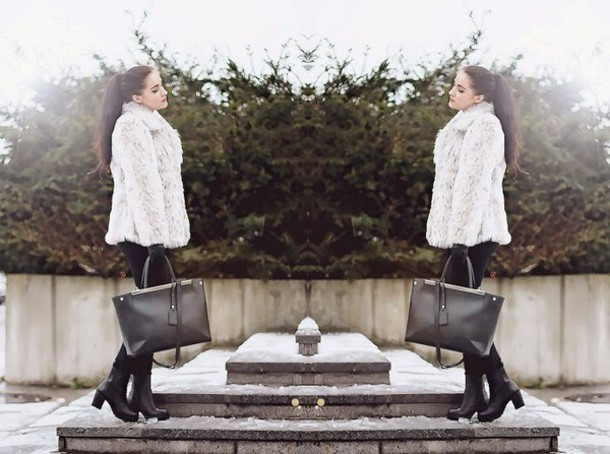 leona meliskova blogger fuzzy coat tote bag black shoes