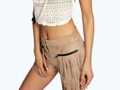 shorts,sude,fringes,high,beige