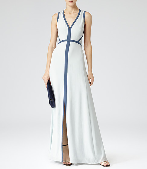 Victoria Maxi Ice Blue Open Back Maxi Dress - REISS